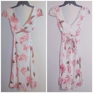 Speechless White & Pink Floral Tie Back Dress